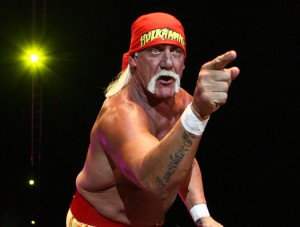 Hulk Hogan gestures to the audience during his Hulkamania Tour at the ...