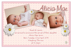 10 New Baby Birth Announcement PHOTO cards No70