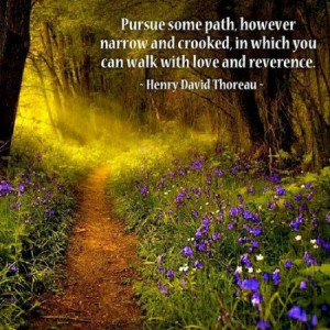 Pursue some path, however narrow and crooked, in which you can walk ...
