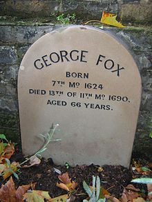 ... as well. Founder George Fox is remembered with a simple grave marker