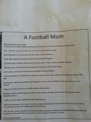 Football Mom Poem A football mom