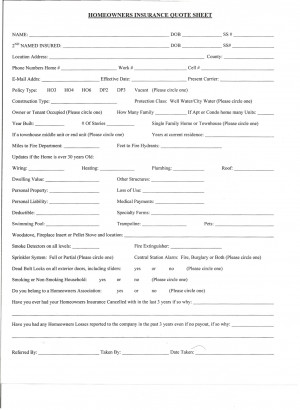 HOMEOWNERS INSURANCE QUOTE SHEET