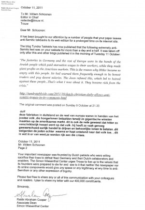SWC QUOTES THE TUNDRA TABLOIDS IN LETTER TO DUTCH CHRISTIAN PAPER OVER ...