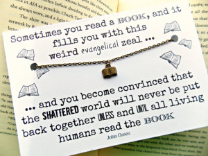 John Green The Fault In Our Stars Quote Book Charm Necklace