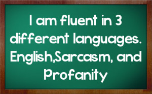 am fluent in 3 different languages. English,Sarcasm, and Profanity
