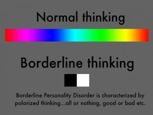 ... black and white thinking too. Borderline Personality Disorder (BPD