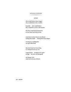 Lucille Clifton (June 27, 1936 – February 13, 2010), POETRY ...