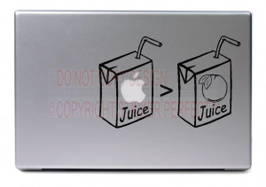 ... Juice - cute funny apple decal laptops notebooks stickers quotes art