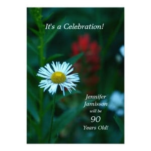 90 Years Old Birthday Party Invites White Flower
