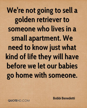 We're not going to sell a golden retriever to someone who lives in a ...