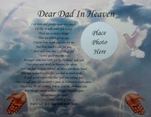 Details about DEAR DAD IN HEAVEN POEM MEMORIAL GIFT FOR LOSS OF A ...
