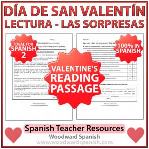 Valentine's Day Reading Passage in Spanish – Lectura – Las ...