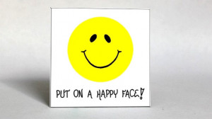 Smiley Face Magnet Inspirational Quote, Happy smile, yellow circle