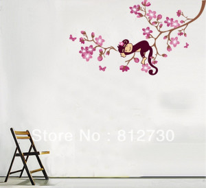 Nursery House Home Cute Monkey On Tree Wall Decor Decals Sticker Quote ...