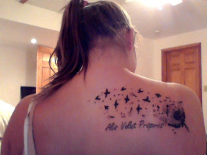 My Tattoo Dandelion To Bird Quote Alis Volat Propriis She Flies ...