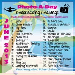 June Photo-A-Day Cheer Challenge. Have Fun & Enjoy Summer!