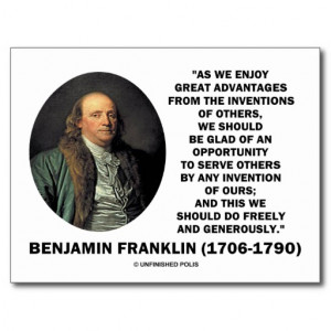 Benjamin Franklin Great Advantages Invention Quote Postcard