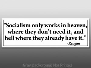 Reagan Anti Socialism Hell Quote Sticker - Conservative