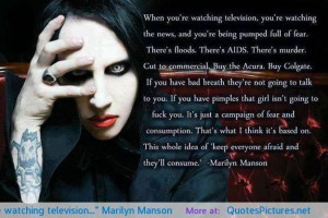 """When you're watching television…"""" Marilyn Manson motivational ..."""