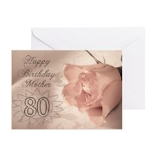 80th Birthday for mother, pink rose Greeting Card for