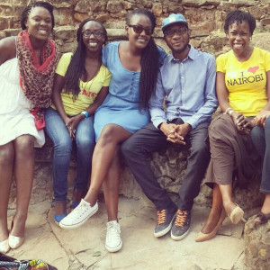 Teju Cole crowded by gorgeous ladies at the Storymoja Festival in
