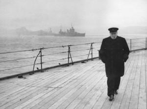Winston Churchill walking the deck of the battleship HMS Prince of ...