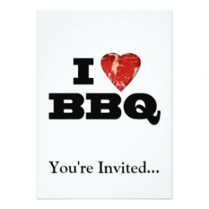 Heart BBQ, Funny Beef Steak Grill 5x7 Paper Invitation Card