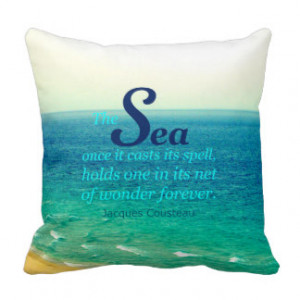 FAMOUS SEA QUOTE JACQUES COUSTEAU PILLOW CUSHION