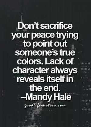 Don't sacrifice your peace