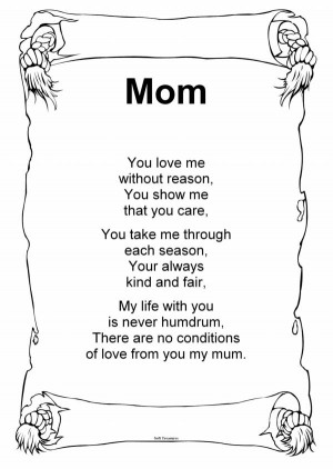May 7, 2012 Poems for Mom . Mother's Day is coming up soon and I was ...