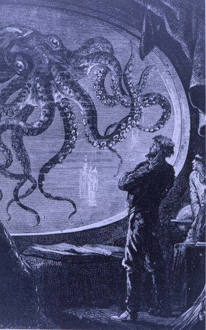 Captain Nemo observing a giant octopus from the viewing port of the ...