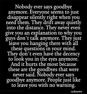 ... were never said. Nobody ever says goodbye anymore. People just like to