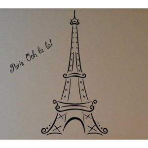 Eiffel Tower Lettering Sayings Stickers