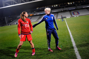 Megan Rapinoe, right, with fellow American Tobin Heath, after a game ...