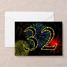 32nd birthday with fireworks Greeting Cards (Pk of for
