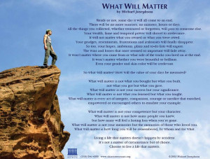 Celebration of Life: What will Matter
