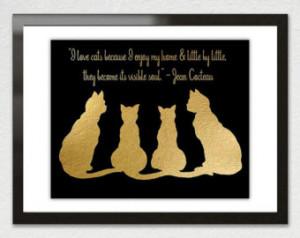 Love CATS - Faux GOLD Foil Leaf A rt Print Poster - Jean Cocteau Quote ...