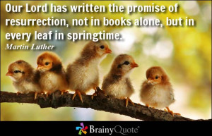 Our Lord has written the promise of resurrection, not in books alone ...