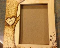 Custom Wood burned 5 x 7 picture fr ame ...