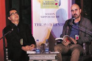 ... Hari Kunzru (right) read passages from Rushdie's The Satanic Verses
