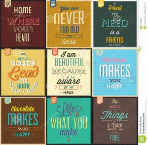Set Of Vintage Typographic Backgrounds - Motivational Quotes - Retro ...