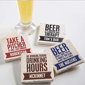 Beer Quotes Personalized Tumbled Stone Coaster Set - On Sale Today!