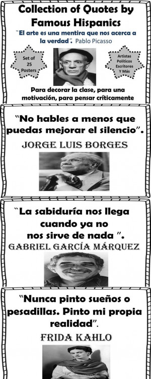 Spanish! Collection of 25 Quote Posters-Famous Hispanic writers ...