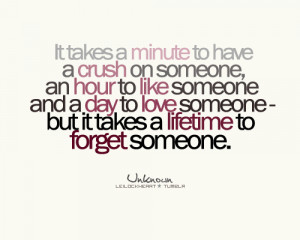 to have a crush on someone, an hour to like someone and a day to love ...