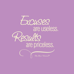 Inspirational Quotes - Excuses are useless
