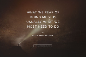 """10. """"What we fear of doing most is usually what we most need to do ..."""