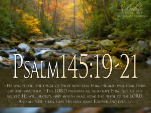 Psalm 145:19-21 Scripture Landscape HD Wallpaper background with Bible ...