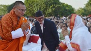 president Pratibha Patil (R) as Nepalese Prime Minister Sushil Koirala ...