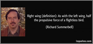 Right wing (definition): As with the left wing, half the propulsive ...