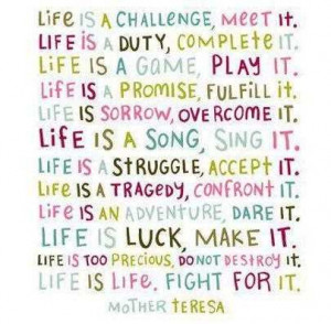 ... Is A Challenge Meet It Life Is Duty Complete It - Challenge Quotes
